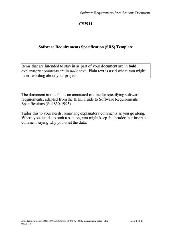 Srs for Srs software requirement specification template