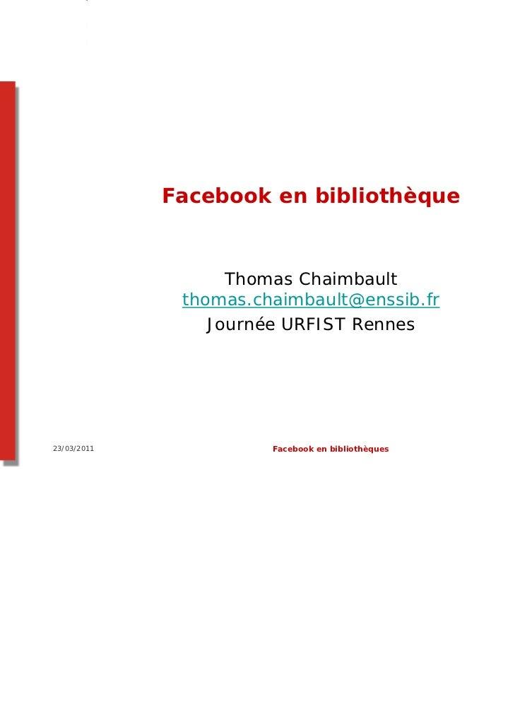 Facebook à l'usage des bibliothécaires