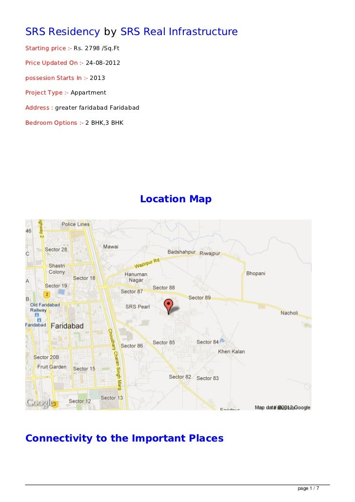 SRS Residency by SRS Real InfrastructureStarting price :- Rs. 2798 /Sq.FtPrice Updated On :- 24-08-2012possesion Starts In...