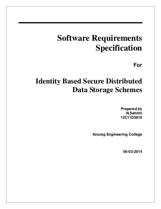 srs software requirement specification template - srs document for identity based secure distributed data