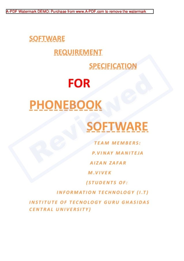 srs for phonebook software