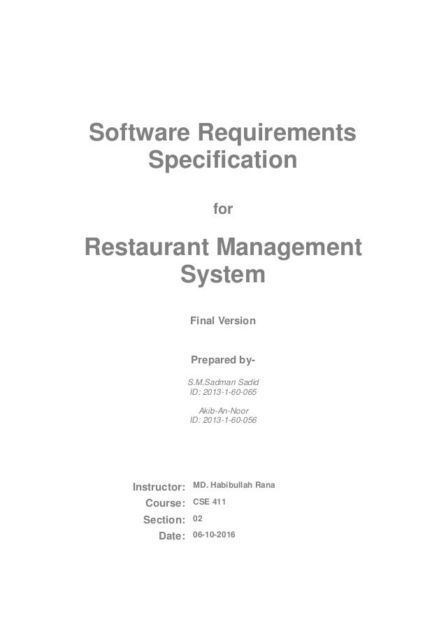 Software Requirements Specification for restaurant