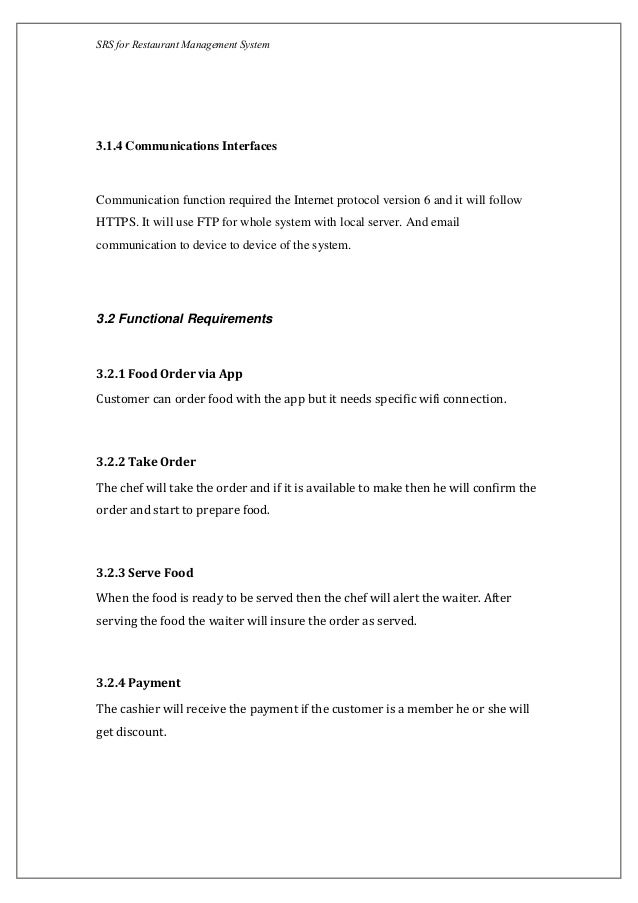 srs document for restaurant management
