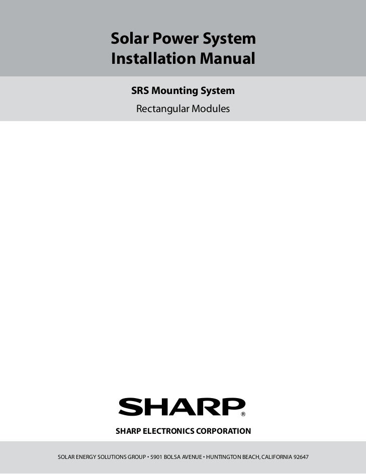 Solar Power System                 Installation Manual                        SRS Mounting System                         ...