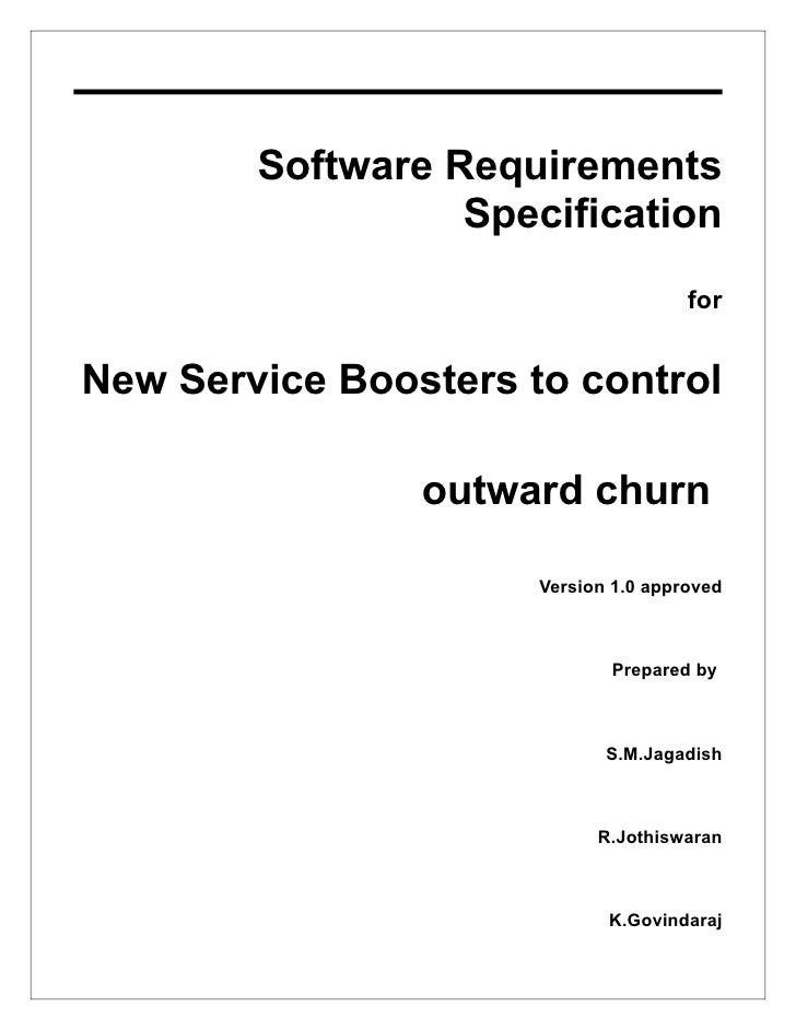 Software Requirements                   Specification                                       for   New Service Boosters to ...