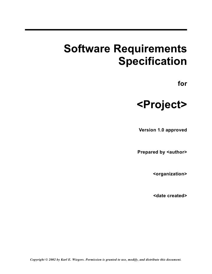 srs software requirement specification template - srs template