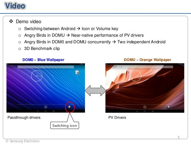 Video  Demo video o o o o  Switching between Android  Icon or Volume key Angry Birds in DOMU  Near-native performance o...