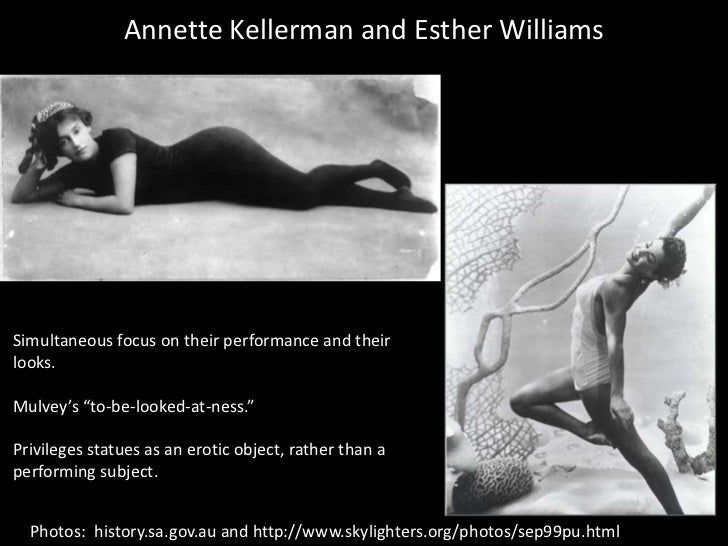 """Annette Kellerman and Esther Williams<br />Simultaneous focus on their performance and their looks.<br />Mulvey's """"to-be-l..."""
