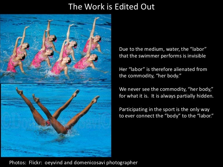 """The Work is Edited Out<br />Due to the medium, water, the """"labor"""" that the swimmer performs is invisible<br />Her """"labor"""" ..."""