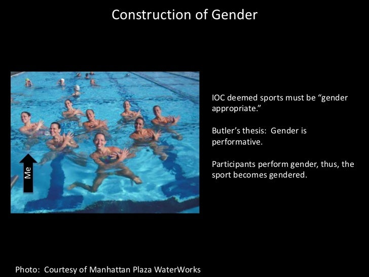 """Construction of Gender<br />IOC deemed sports must be """"gender appropriate.""""<br />Butler's thesis:  Gender is performative...."""