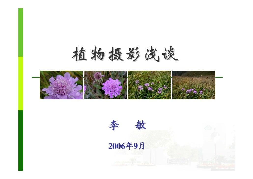 植物摄影浅谈     李   敏   2006年9月