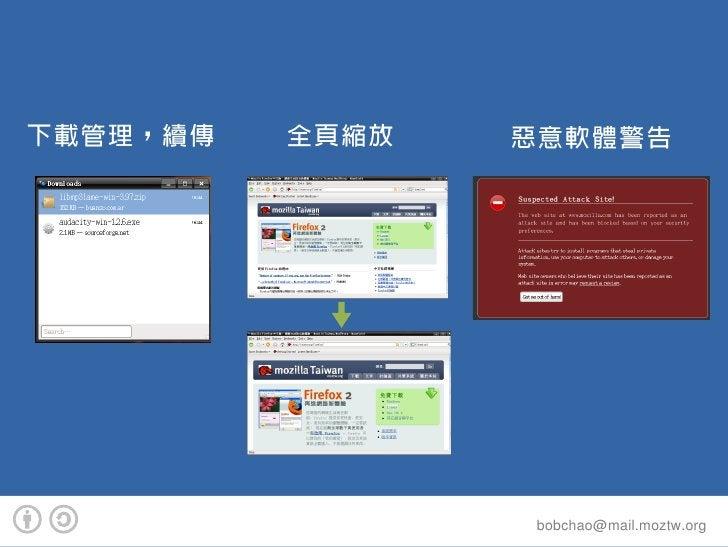 下載管理,續傳   全頁縮放   惡意軟體警告                      bobchao@mail.moztw.org