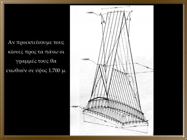 Αν προεκτείνουμε τους κίονες προς τα πάνω οι γραμμές τους θα ενωθούν σε ύψος 1.700 μ.