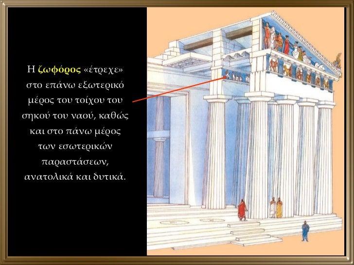 Η  ζωφόρος  «έτρεχε» στο επάνω εξωτερικό μέρος του τοίχου του σηκού του ναού, καθώς και στο πάνω μέρος των εσωτερικών παρα...