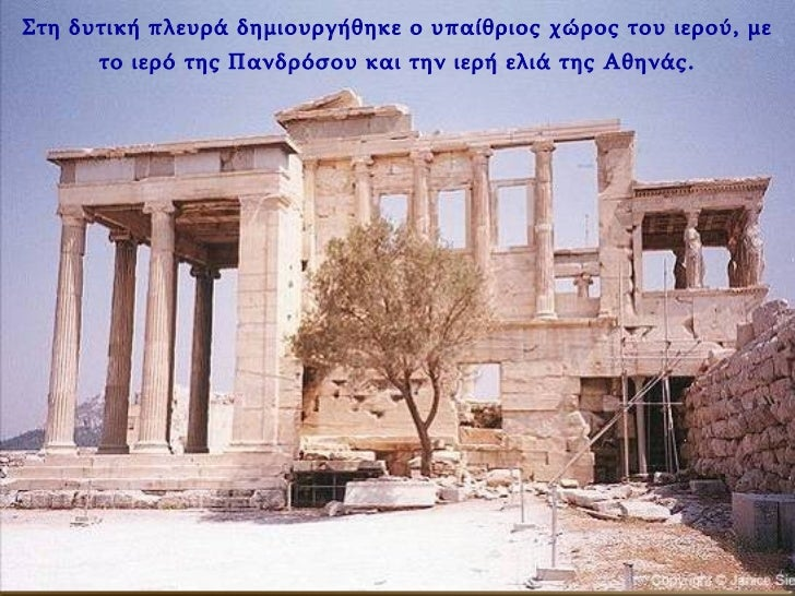 Στη δυτική πλευρά δημιουργήθηκε ο υπαίθριος χώρος του ιερού, με το ιερό της Πανδρόσου και την ιερή ελιά της Αθηνάς.
