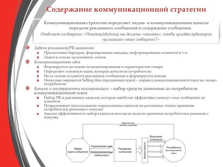 Содержание коммуникационной стратегии    Коммуникационная стратегия определяет медиа- и коммуникационные каналы           ...