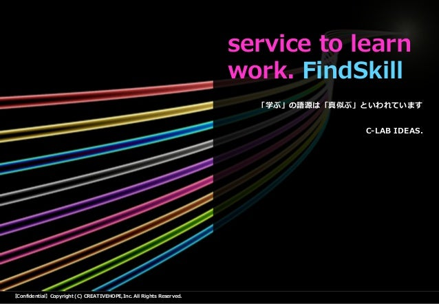 【Confidential】Copyright (C) CREATIVEHOPE,Inc. All Rights Reserved. 「学ぶ」の語源は「真似ぶ」といわれています C-LAB IDEAS. service to learn wor...