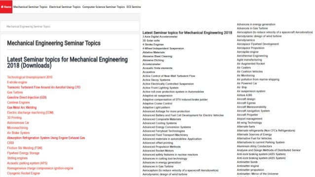 Latest seminar topics and full reports with ppt, pdf and doc mech.