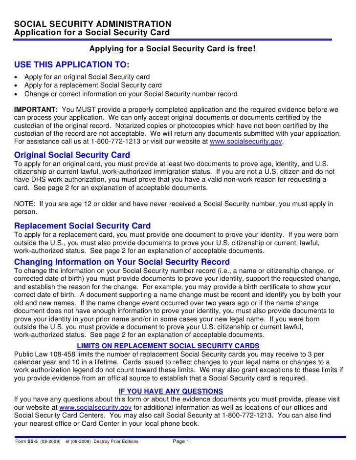 SOCIAL SECURITY ADMINISTRATION Application for a Social Security Card                                  Applying for a Soci...