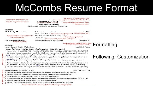 mccombs resume format