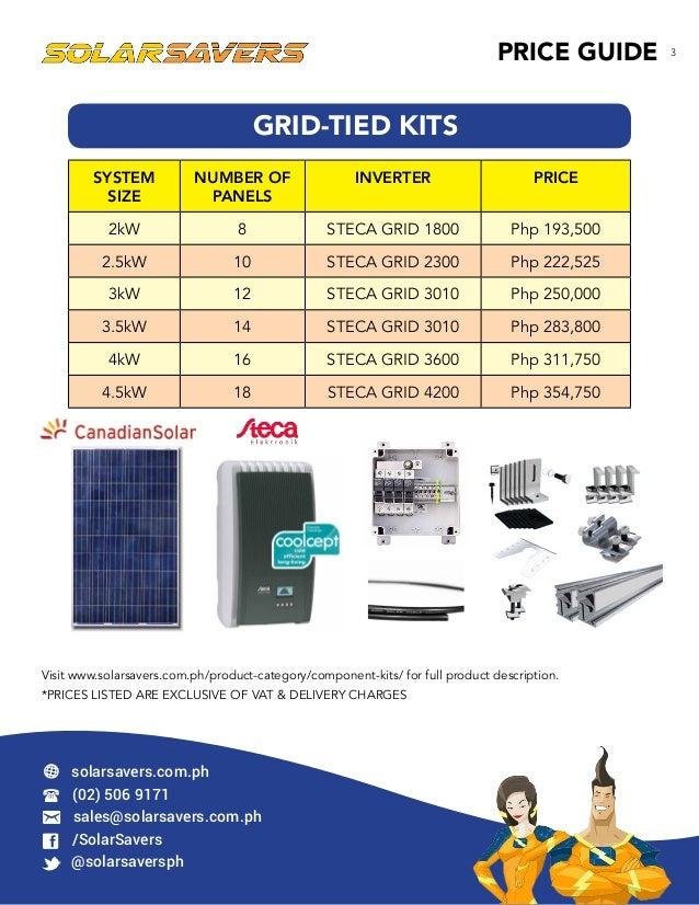 SolarSavers Price Guide June 2015