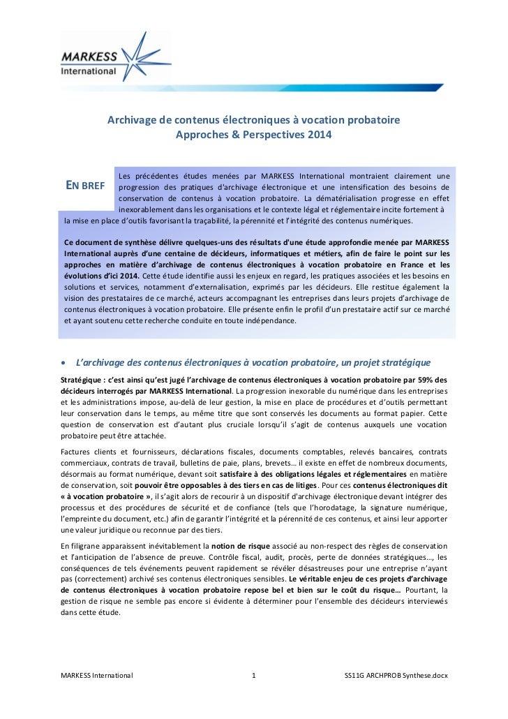 Archivage de contenus électroniques à vocation probatoire                           Approches & Perspectives 2014         ...