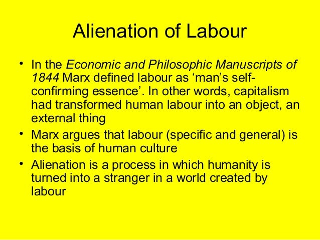 marx and alienation Alienation is a core aspect of marxist thinking karl marx and friedrich engels argue in the communist manifesto that capitalism is the cause alienation the theory is that the estrangement, or ali.