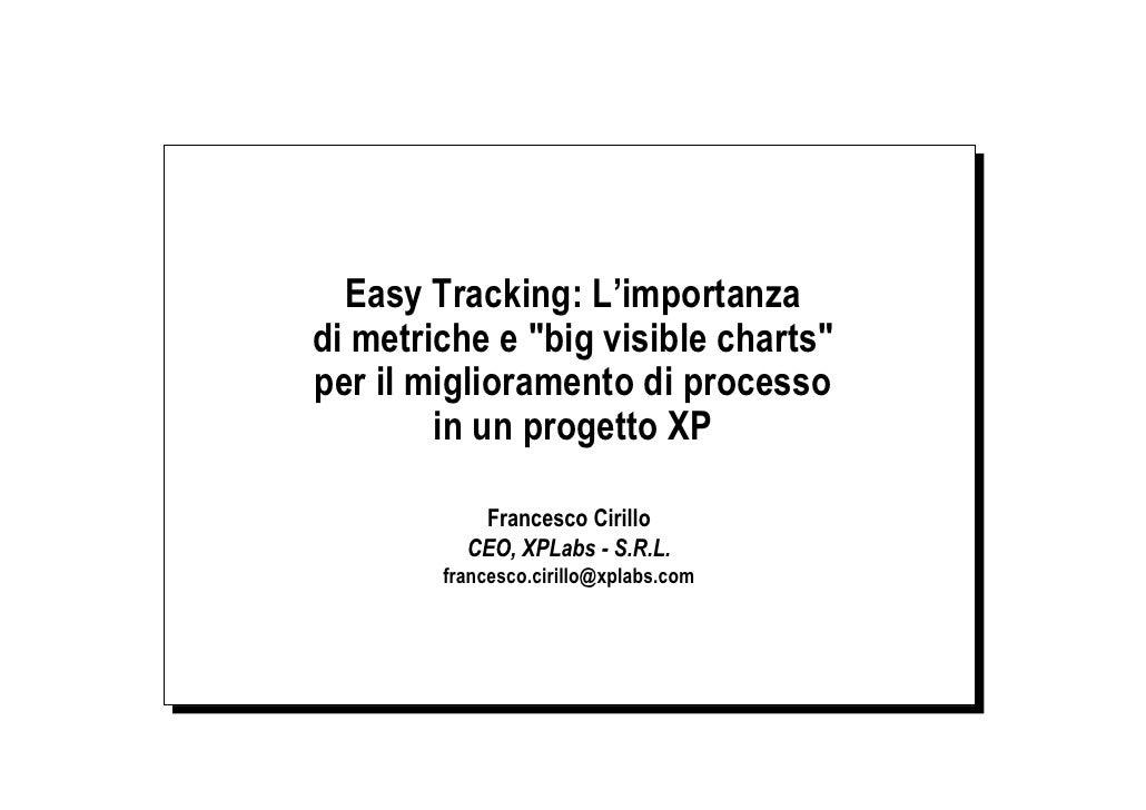"""Easy Tracking: L'importanza di metriche e """"big visible charts"""" per il miglioramento di processo         in un progetto XP ..."""