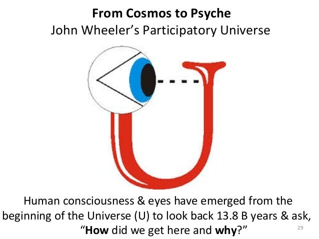 From Cosmos to Psyche  John Wheeler's Participatory Universe  Human consciousness & eyes have emerged from the  beginning ...