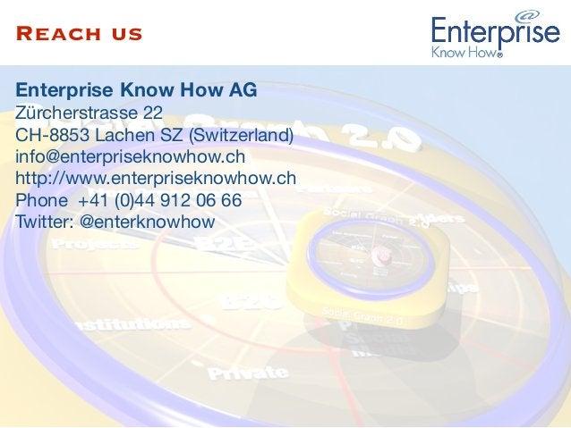 Reach us Enterprise Know How AG Zürcherstrasse 22  CH-8853 Lachen SZ (Switzerland)  info@enterpriseknowhow.ch  http://www....