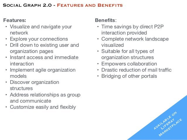 Social Graph 2.0 - Features and Benefits available on Liferay Marketplace Features: • Visualize and navigate your networ...