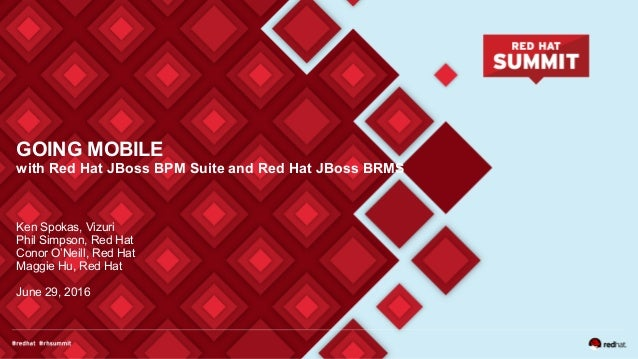GOING MOBILE with Red Hat JBoss BPM Suite and Red Hat JBoss BRMS Ken Spokas, Vizuri Phil Simpson, Red Hat Conor O'Neill, R...