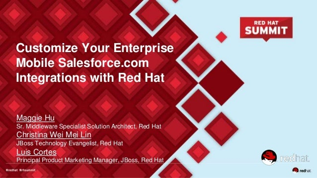 Customize Your Enterprise Mobile Salesforce.com Integrations with Red Hat Maggie Hu Sr. Middleware Specialist Solution Arc...