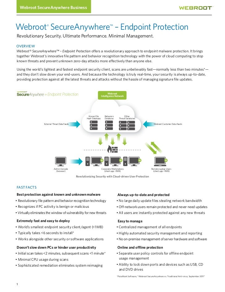 Webroot SecureAnywhere BusinessWebroot® SecureAnywhere™ – Endpoint ProtectionRevolutionary Security. Ultimate Performance....