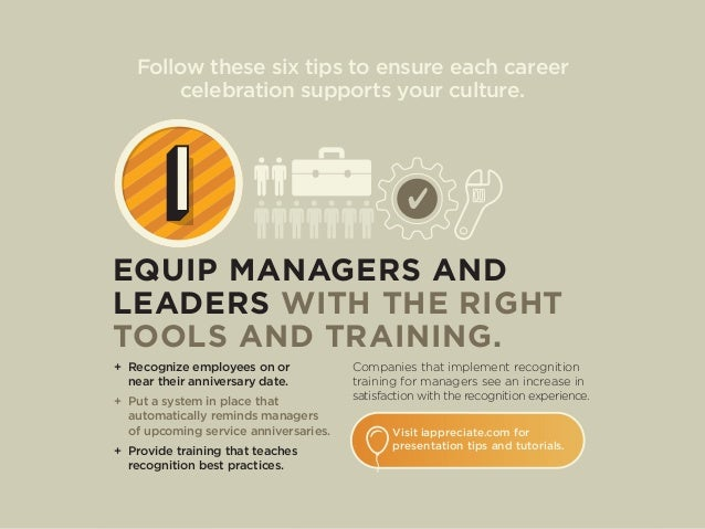 Follow these six tips to ensure each career celebration supports your culture. EQUIP MANAGERS AND LEADERS WITH THE RIGHT T...