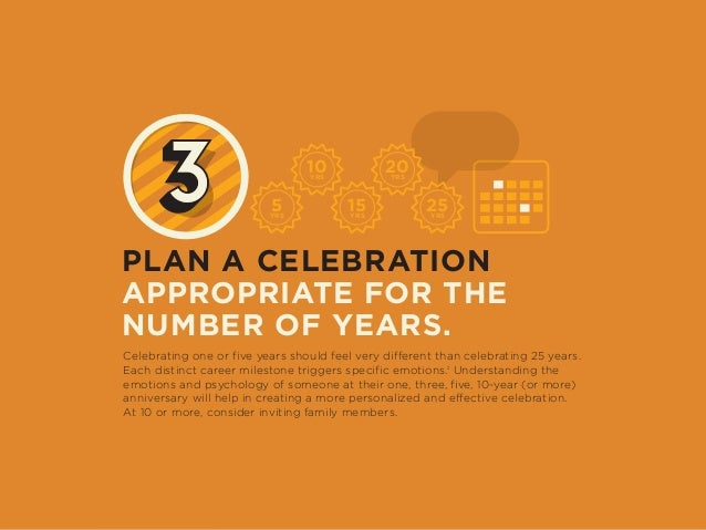 PLAN A CELEBRATION APPROPRIATE FOR THE NUMBER OF YEARS. Celebrating one or five years should feel very different than cele...