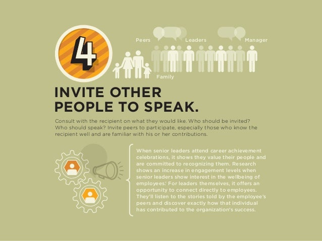 INVITE OTHER PEOPLE TO SPEAK. Consult with the recipient on what they would like. Who should be invited? Who should speak?...