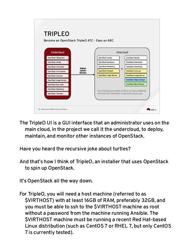 @rainleander @RDOcommunity #TripleO13 TRIPLEO Become an OpenStack TripleO ATC - Easy as ABC The TripleO UI is a GUI interf...