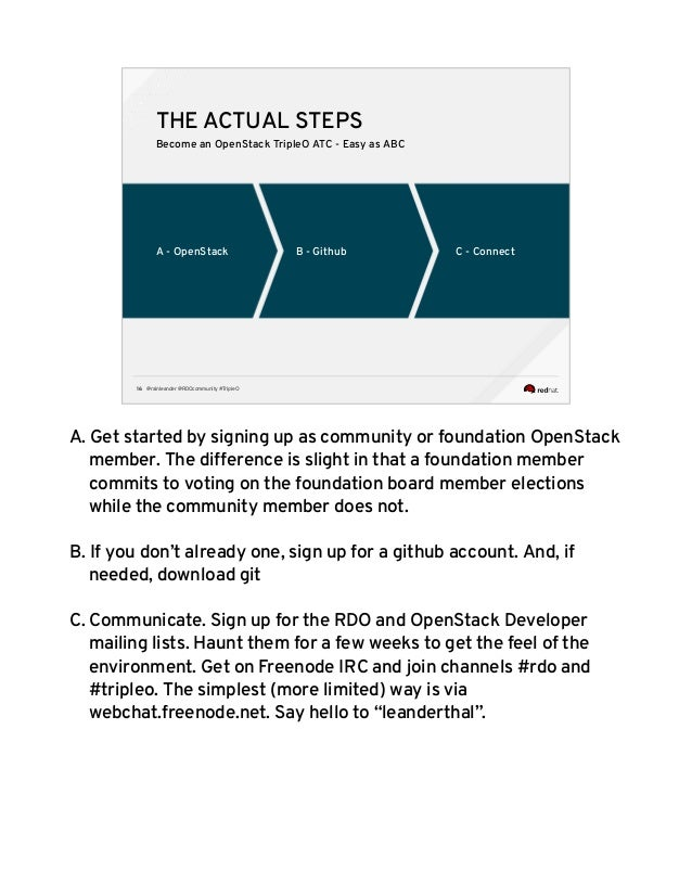 @rainleander @RDOcommunity #TripleO16 A - OpenStack C - ConnectB - Github THE ACTUAL STEPS Become an OpenStack TripleO ATC...