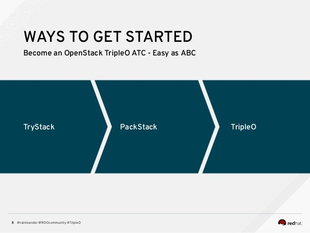 @rainleander @RDOcommunity #TripleO8 TryStack TripleOPackStack WAYS TO GET STARTED Become an OpenStack TripleO ATC - Easy ...