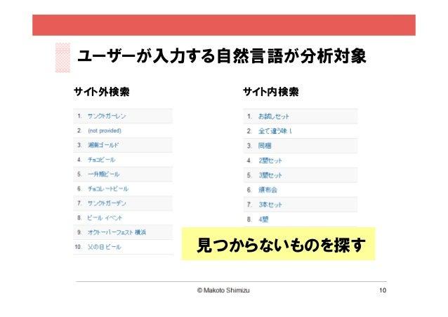 ユーザーが入力する自然言語が分析対象サイト外検索      サイト内検索         見つからないものを探す                       10