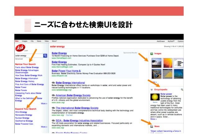 ニーズに合わせた検索UIを設計    別物であり、両方とも必要                   15