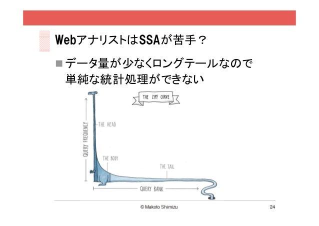 WebアナリストはSSAが苦手? データ量が少なくロングテールなので 単純な統計処理ができない                      24
