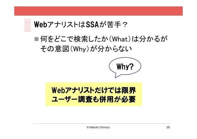 WebアナリストはSSAが苦手? 何をどこで検索したか(What)は分かるが その意図(Why)が分からない              Why?   Webアナリストだけでは限界   ユーザー調査も併用が必要                 ...
