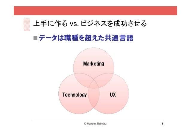 上手に作る vs. ビジネスを成功させる データは職種を超えた共通言語             Marketing     Technology          UX                              31