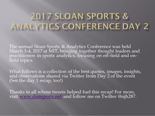 Sloan Sports and Analytics Conference Day 2 Recap