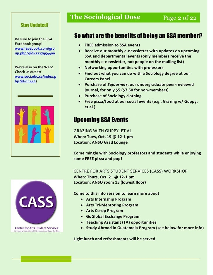 SSA E-newsletter (Edition 1 - Oct. 6, '10) Slide 2