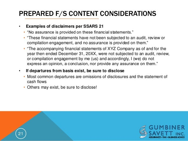 SSARS No. 21 Risk Management and Implementation Issues