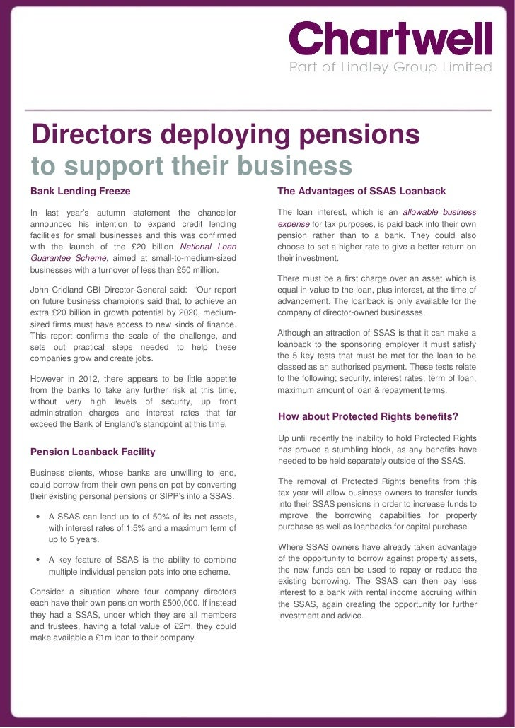 Directors deploying pensionsto support their businessBank Lending Freeze                                       The Advanta...