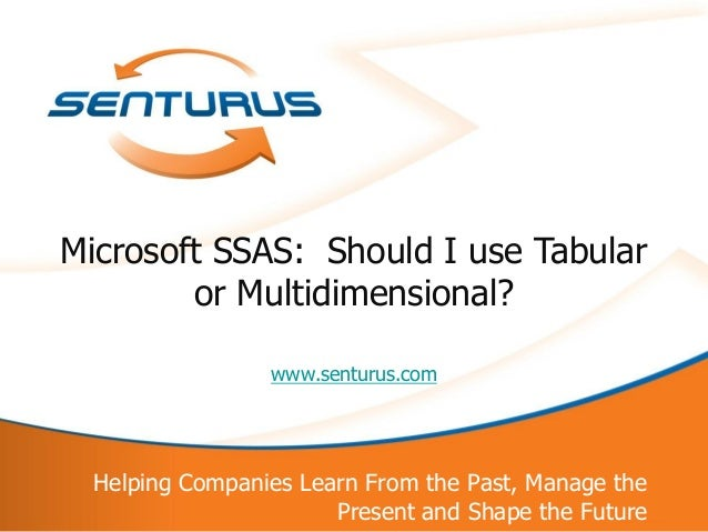 1Helping Companies Learn From the Past, Manage thePresent and Shape the Futurewww.senturus.comMicrosoft SSAS: Should I use...